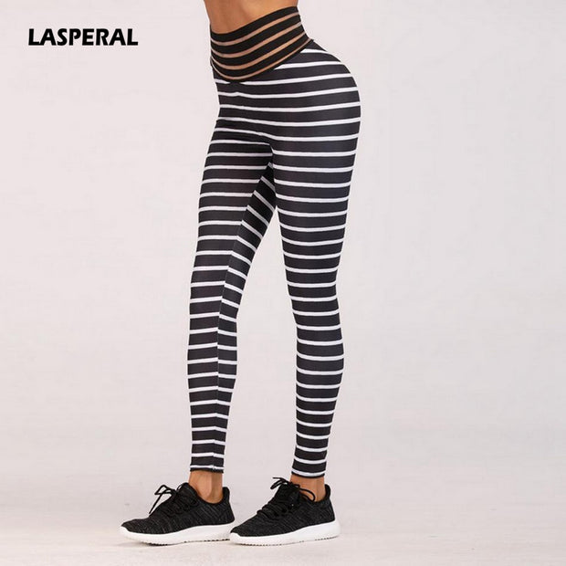 LASPERAL 2019 Striped Print Yoga Pant Women High Waist Elastic Trouser Athletic Pencil Pant Outdoor Fitness Gym Sweat Leggings