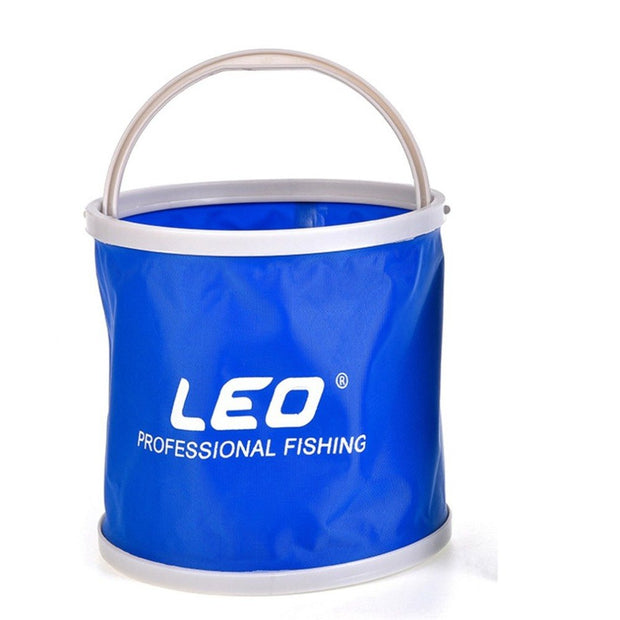 LEO 3 Color Folding Outdoor Bucket Lightweight Canvas Bucket Portable Camping Hiking Fishing Bucket Fishing Tackle Tool