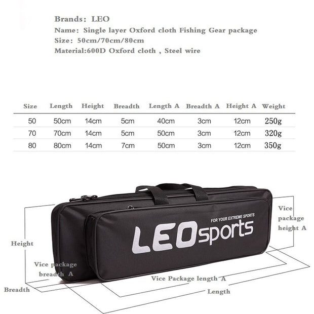 LEO Fishing Tackle Bag 50CM Multi-purpose Fishing Bag Mini Portable Fishing Rod Bag Black Single-layer Steel Wire