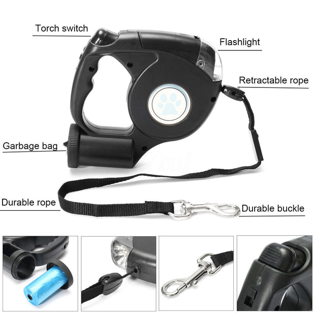 LGFM-4.5M LED Flashlight Extendable Retractable Pet Dog Leash Lead With Garbage Bag