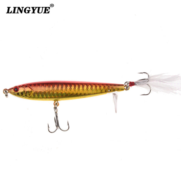 LINGYUE 5pcs/lot Fishing Lures 9cm/13.4g Hard Baits Artificial Plastic Pencil Fishing Tackle Crankbait Feather Hooks Fish Bait