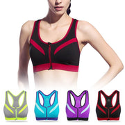 Ladies' Yoga Bra Vest With Front Zipper Breathable Women's Sexy Sports Fitness Gym Yoga Training Pull Up Bras Crossed Straps