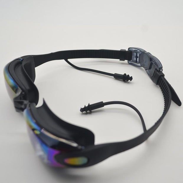 Large Frame HD Anti-fog Plated Diving Swimming Goggles With One-piece Earbuds