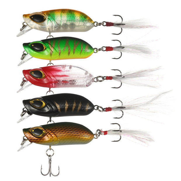 Lixada 5Pcs 6cm 13g Popper Fishing Lures Crankbait Artificial Hard Fishing Bait With Treble Hooks Swimbait With Box