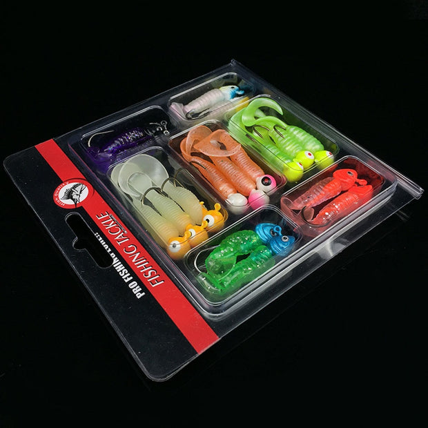 Loogdeel 17PCS/Set Fishing Lure Lead Head Jig Head Hooks Grub Worm Soft Baits Shads Silicone Fishing Tackle Set