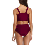Loozykit Women Bikinis Set Two-Piece Swimsuit High Waist Ruffled Spaghetti Strap Swimwear Ladies Beachwear Maillot De Bain Femme