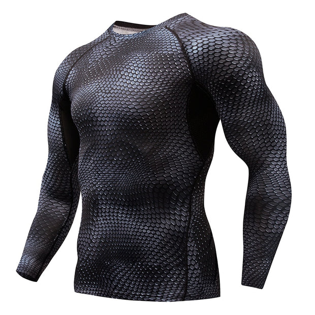 MMA Fitness Running Shirt Men Rashguard Sportswear Male Long Sleeve Gym T-Shirt Crossfit Bodybuilding Men Snake Print 3D T Shirt