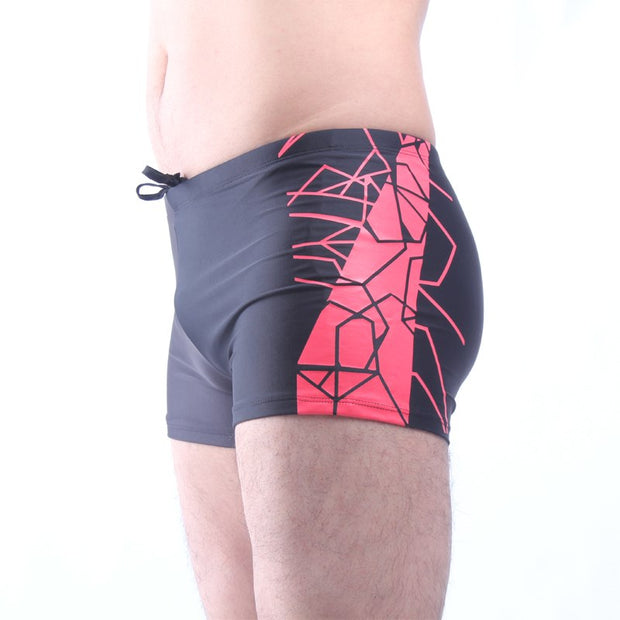 MS001 RED STRIPE Men's Swimming Trunks Fast Fashion Dry Pants Swimsuits Men's Matches Big Yards Hot Springs And Breathes