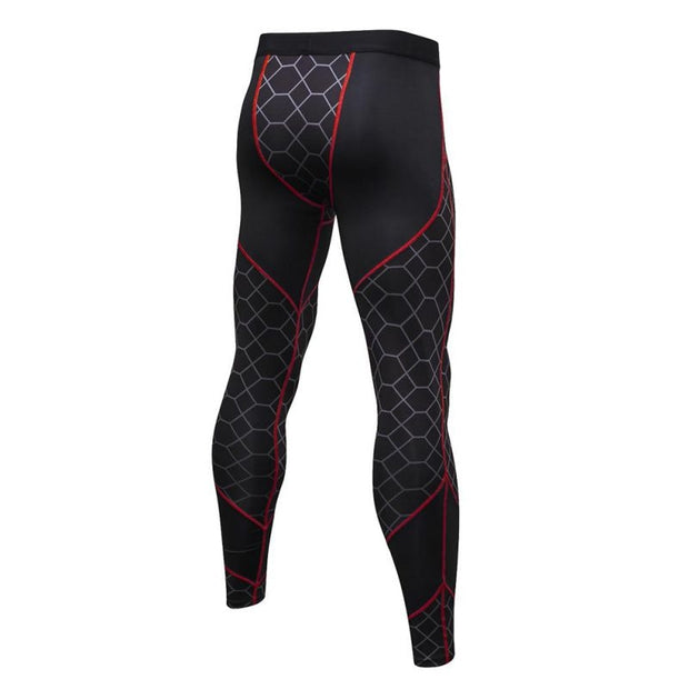 Men High Elastic Fitness Trousers Sports Running Compression Training Pants Quick-Drying New Bottoming Print Stitching Pants