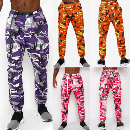 Men Military Combat Camo Cargo Running Pants Casual Camouflage Long Trousers Pants