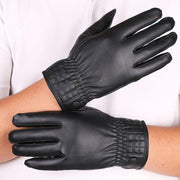 Men's PU Leather Touch Screen Gloves Outdoor Riding And Velvet Warm Gloves