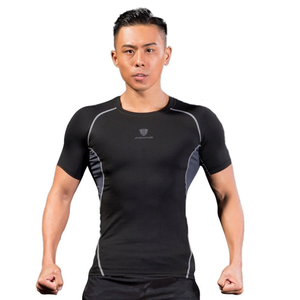 Men's Quick-drying Breathable Tight T-shirt Summer Men Sport Cool Dry Compression Baselayer Short Sleeve T Shirts 2018 NEW