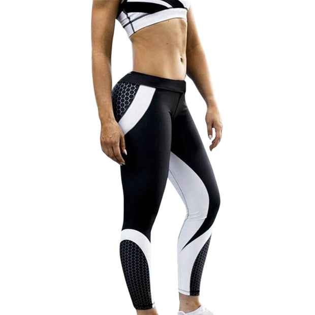 Mesh Pattern Print Leggings Sports Tight Yoga Skinny Workout Gym Leggings Running Training 2018 New Slim Black White Pants