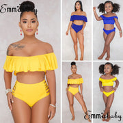 Mother Daughter Swimsuit Family Matching Yellow Blue Briefs Beachwear High Waisted Women Swimwear