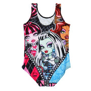 NEW 0011 Children Girl Summer Cartoon Monster High Frankie Stein Skull 3D Prints One-piece Swimsuit Swimwear Kids Bathing Suit