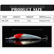NOEBY 1 Pcs Fishing Lure 120mm/21g 3.6-4.5m Floating Super MINNOW Long Shot Hard Bait VMC Treble Hooks 3D Eyes Isca De Pesca