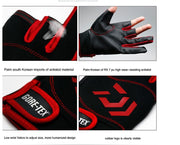 New 1 Pair Fishing Hunting Gloves 3 Fingers Cut Gloves Breathable Anti-Slip Gloves Leather PU Outdoor Sun Protection Gloves