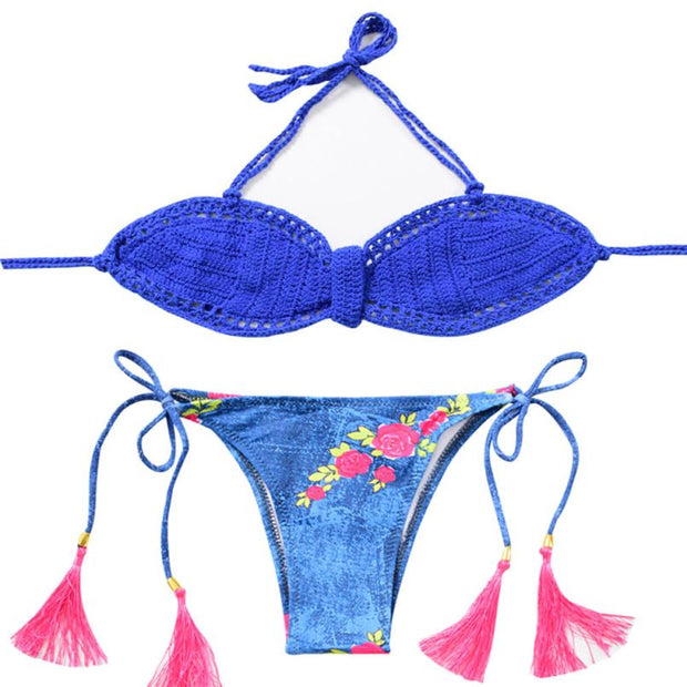 New Arrival Women Swimwear Print Knitting Tassel Bikini Swimsuit Bikini Beachwear Bathingsuit Fabulous Women's Swimsuits Biquini