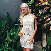 New Crochet Knitted Beach Cover Up Dress Beach Tunic Pareos Bathing Suit Cover Up Sleeveless Swim Cover Up Robe Plage Beachwear