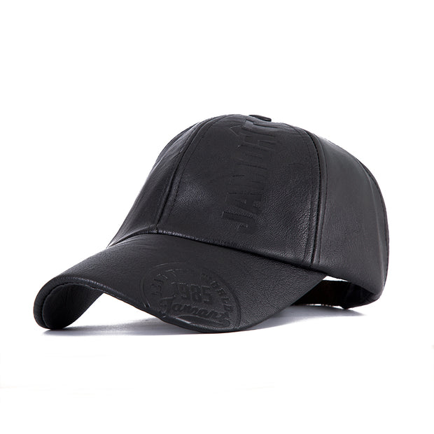 New Fashion High Quality Winter Leather Baseball Cap For Men Casual Snapback Hat Male Pure Color Wholesale