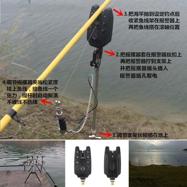 New High-tech Fish Bite Alarm 2 LED Tone Volume Adjustable Sound Sensitivity Waterproof Fishing Equipment Easy Fishing Tool