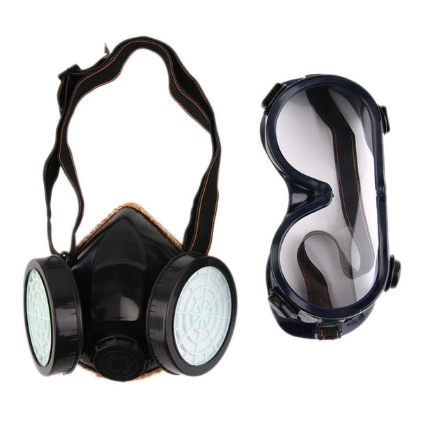 New Protection Filter Dual Gas Mask Chemical Gas Anti Dust Paint Respirator Face Mask With Goggles Industrial Safety