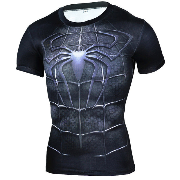 New Quick Dry Tank Man's T-Shirt Black Panther Running Shirt Men Compression Tights Top Short Sleeve Gym T Shirt Rashgard Male