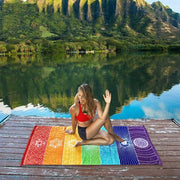 New Rainbow Stripes Yoga Blankets Mandala Beach Towel Yoga Mat Bohemia Mandala Blanket Pilates Towel Wall Hanging Mat