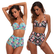 New Sexy Floral Print Two Piece Women High Waist Bikini Swimsuit Backless Push Up Swimwear Bathing Suit