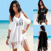 New Style Tassels Beach Cover Up 2018 Summer Beach Dress Off Shoulder Loose Bikini Cover Up Women Bathing Suit Beach Outfits