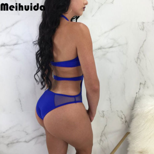 New Style Women One-piece Sexy Swimsuit Solid Color Swimwear Push Up Padded High Waist Bathing Suit Halter Bandage Mesh Bikini