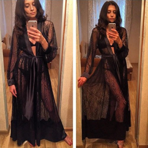 New Stylish Women Sexy Long Silk Kimono Dressing Gown Bath Robe Black White Babydoll Lingerie Nightdress