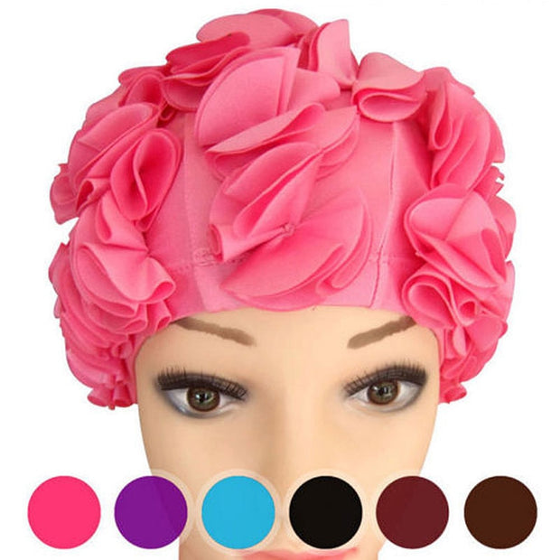 New Women Ladies Vintage Style Floral Flower Adult Swimming Cap Free Size Elastic Swim Bathing Hat Hair Protection Free Shipping