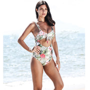New Women Push Up Floral Padded Bikini Backless Set One-Piece V-neck Tied Hollow Swimsuit Swimwear
