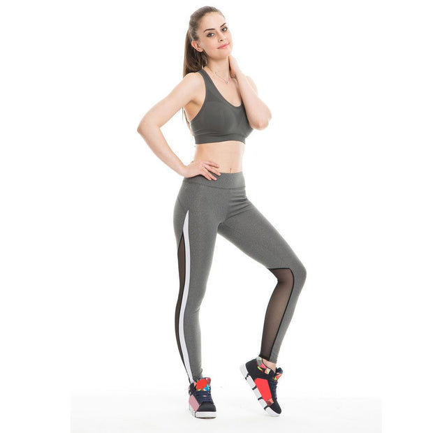 New Women's Sports Yoga Pants Women Fitness Sport Leggings Sexy Mesh Patchwork High Waist Slim Yoga Pants