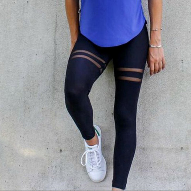 Newly Sexy Women Yoga Sports Pants Fitness Elastic Mesh Splice Leggings High Waist Running Gym Slim Fit Trousers Shop 55