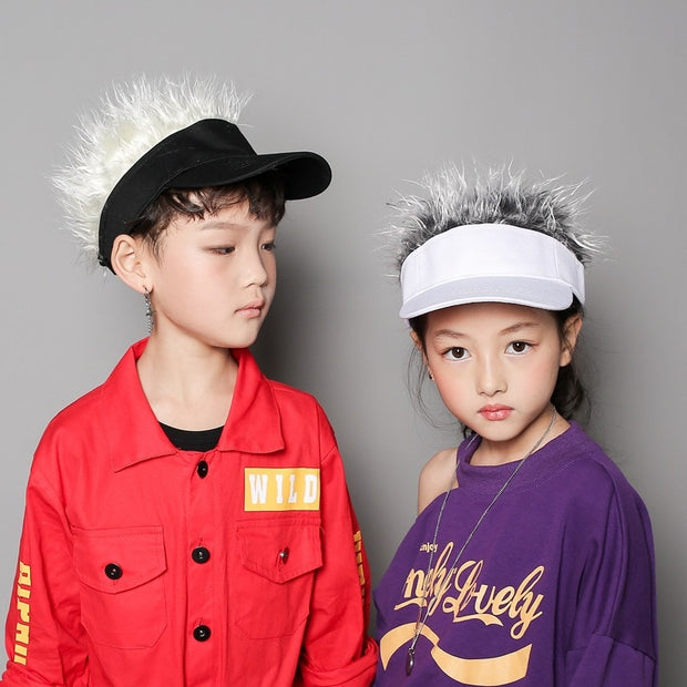 Novelty Unisex Kids Adults Cap Fake Flair Hair Sun Visor Hats Caps Men Women Toupee Wig Funny Hair Loss Cool Gifts Golf Cap Hat
