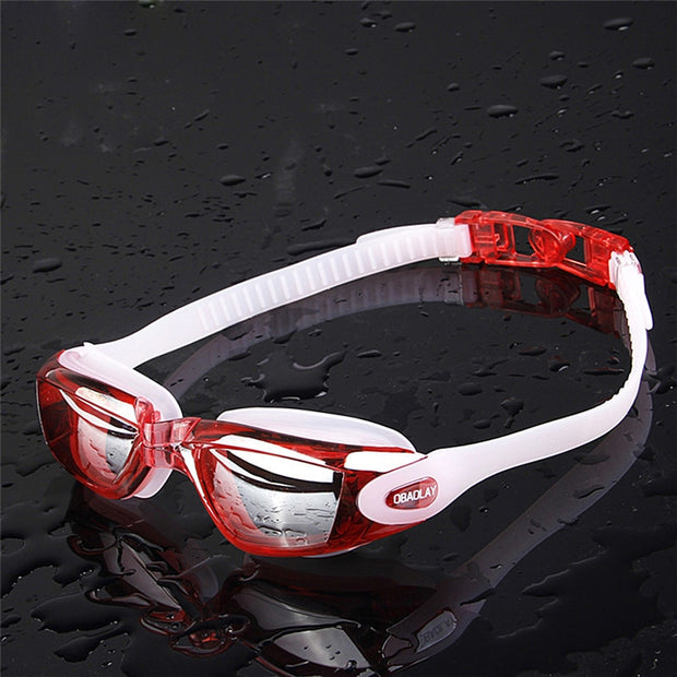 OBAOLAY Professional Anti-Fog UV Protection Adjustable Swimming Goggles Men Women Waterproof Silicone Glasses Adult Eyewear