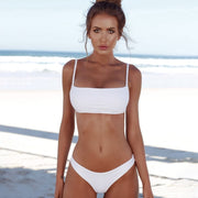 OUTAD Sexy Bikini Set Push Up Top Vintage Women Swimwear Solid Color Swimsuit Bikini Beach Bathing Suits Swim Wear Costumes