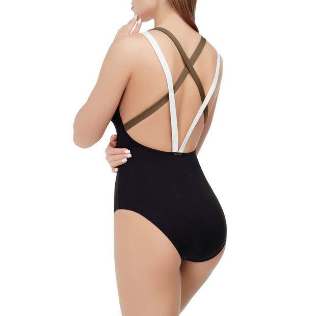 One Piece Swimsuit Female 2019 Sexy Patchwork Backless Swimwear Women High Leg Monokini Swimming Suit For Women