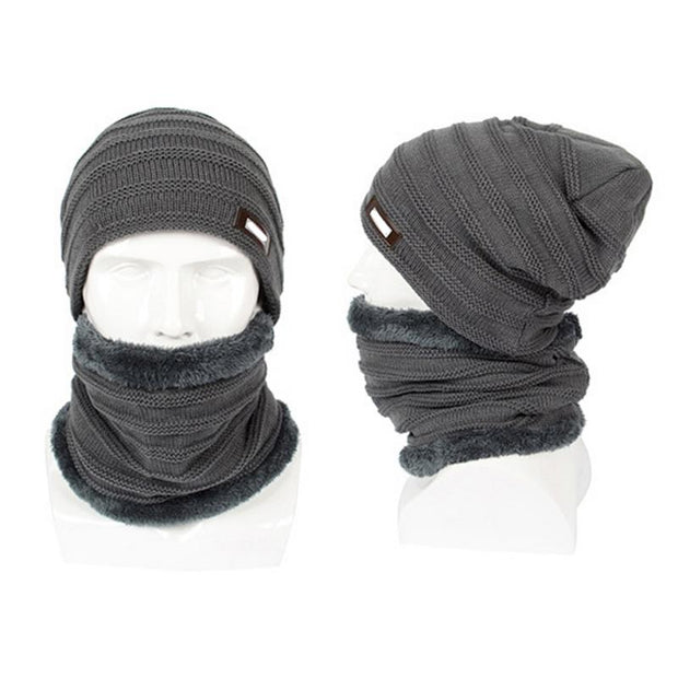 Outdoor Cycling Hat Men And Women Knitted Wool Fleece Lining Hat Warm Hooded Winter Plus Velvet Riding Hat Fashionable Scarf