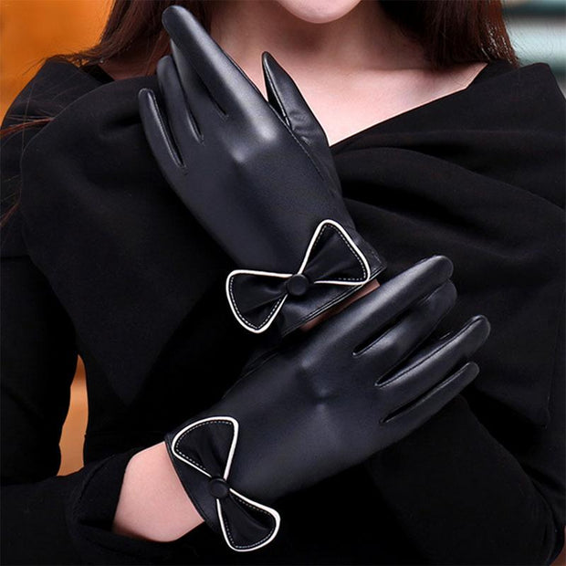 Outdoor Riding Ladies Touch Screen PU Gloves Imitation Sheep Pattern Washed Leather Bowknot Plus Velvet Winter Autumn Gloves