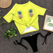 Pineapple Print Bandage Beach Swimsuit Bathing Swimming Beach Women Tankini Swimwear Push-up Monokini Short Sleeve
