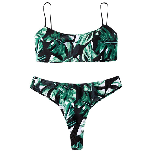 Plants Print Padded Bikini Set Women Swimsuit Low Waist Two Piece Bikini Swimwear For Women High Quality Stylish Fashion Suit