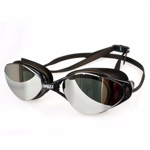 Plating Mirrored Swimming Waterproof Glasses For Adults Sport Anti Uv Fog Protection Swim Goggles(black)