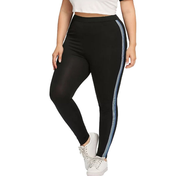 Plus Size 5XL For Women Hot Striped Print Yoga Pants Sport Leggings Push Up Fitness Gym Clothes Black Running Tights Trousers