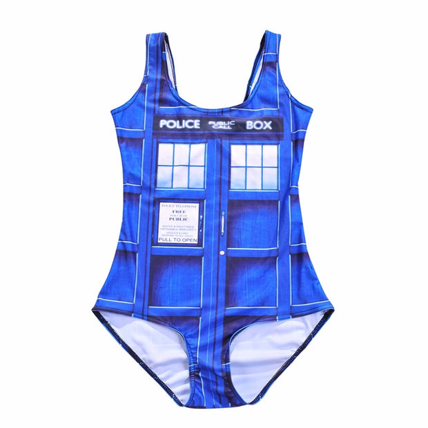 Police Box Bikini Bodysuit WOMAN Blue Tardis SWIMSUIT Digital Printing Police Post Swimwear One Pieces Women Bathing Suits Sexy