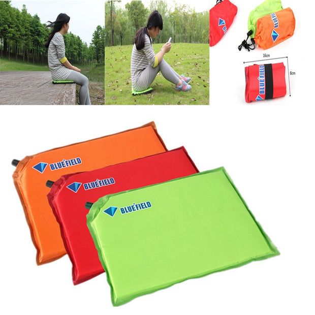 Portable Camping Mat Outdoor Inflatable Foldable Sponge Mat Single Person Seat Pad For Travel Camping Moistureproof Seat Cushion