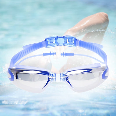 Professional Earplugs Swimming Glasses Adults Plating Waterproof Antifog Goggles