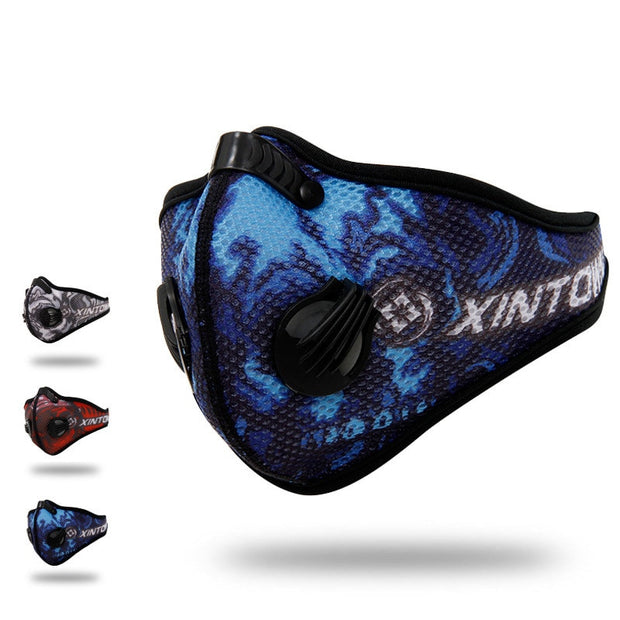 Q331 XINTOWN Men Sports Cycling Breathable Carbon Filters Face Mask Bicycle Dust Smog Protective Half Face Neoprene Mask PM2.5